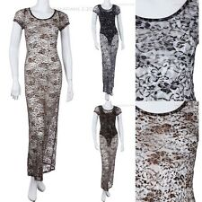 LACE Leopard Print See Through Summer Beachwear Maxi Dress Short Sleeve
