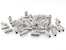50x Metallperlen 11x6mm Spacer Großlochperlen altsilber Metall Perlen silber