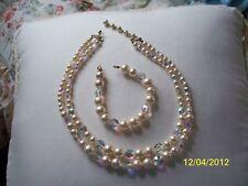 MARVELLA Vintage Faux Pearl & AB Crystal Necklace & Bracelet Set