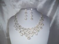 Prom Wedding Bridal Quenceanera Crystal Rhinestone Necklace Earring Jewelry Set