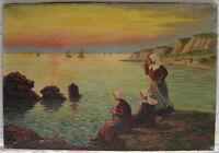 Huile sur toile école française début XXème Bretagne pointillisme signée Mourier