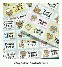 30 Bear n Friends Iron On Labels Laundry Name Tags School Nursing Kid Camp ID