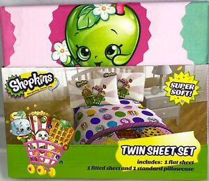 Shopkins Twin Sheet Set Super Soft! Polka Dots NEW