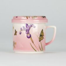 Tea Mug set - Lid Strainer Saucer - Shabby Chic Butterfly  - Porcelain - NEW