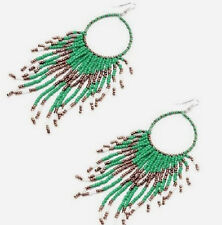 GREEN, GOLD BEADED HOOP TASSEL BOHEMIAN STYLE DANGLE EARRINGS 40MM