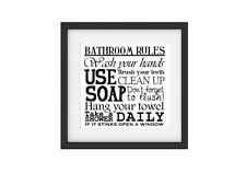 Retro Druck 30x30cm BATHROOM RULES Bild Poster Toilette Bad WC Shabby Vintage