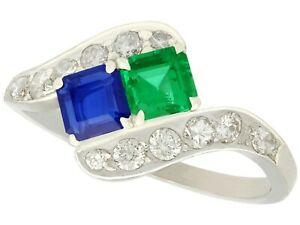 Vintage 0.47Ct Sapphire and 0.50Ct Emerald 0.77Ct Diamond and Platinum Ring