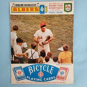 VINTAGE - CINCINNATI REDS 1969 GAME SCORECARD / AUTOGRAPHED ROSE, PEREZ, HUNDLEY