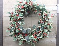 GISELA GRAHAM CHRISTMAS VARIEGATED HOLLY RED BERRY WREATH d37cm
