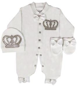 Baby Boy Newborn  Crown Romper  gift Set 3 piece Bow Romper Set