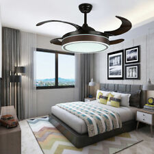 """42"""" Dimmable Led Invisible Ceiling Fan Light Chandelier 3 Speeds Remote Control"""