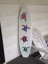 4 foot wood surfboard wall art with vinyl turtle appliques & handpainting