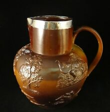 Vintage English Salt Glazed Stoneware Hunt Jug w/ SS Rim, Birmingham 1898, 8 ½""