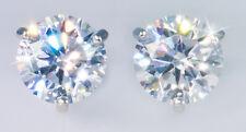2 ct tw Martini Earrings Top CZ Moissanite Simulant Screwbacks Sterling Silver