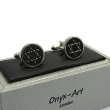 Star of David Cufflinks by Onyx Art 6 Pointed Star New Boxed