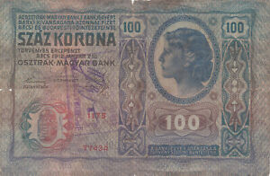 100 KORONA VG BANKNOTE FROM HUNGARY WITH STAMP 1919