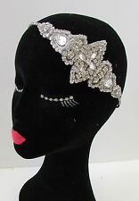 Vintage 1920s Silver Diamante Headpiece Great Gatsby Flapper Bridal Headband A73