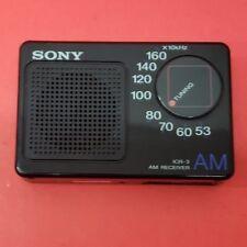 Sony ICR-3 AM Receiver Pocket Transistor Radio Vintage 1980's 80's Black