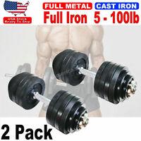 2 Pack 50lb Full Metal Iron Adjustable Weights Dumbbells Total 100lb Dumbbells