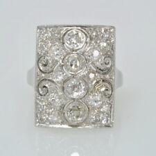 Antique Platinum Filigree 1 3/4 CT Mine Cut Diamond Cluster  Art Deco Ring