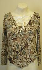 GLITZY LONDON Pretty  Gypsy style brown paisley  blouse  size M/L  Free P & P