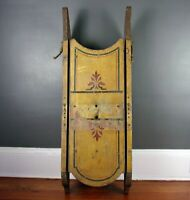 Antique SLED Childs WOOD Painted OLD Mustard Stenciled Polychrome Victorian