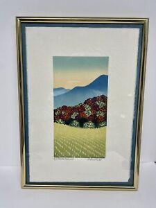 """Sabra Field Original Woodblock Print """"Hill Farm Autumn"""" Framed"""