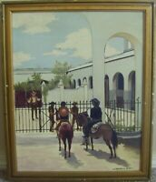 WONDERFUL WESTERN PAINTING OF COWBOYS AT THE  GATE OF A LARGE VILLA...LEONARD H.