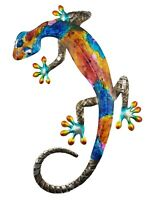 Gecko Lizard Metal Hanging Wall Art Vibrant Colours Garden Sculpture Décor 42 cm