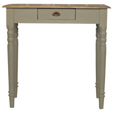Vintage French Style Writing Desk Hand Painted Grey With Brass Cup Handle Drawer