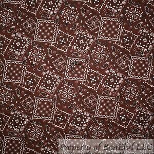 BonEful FABRIC FQ Cotton Quilt Brown White Bandana Flower Paisley Block Square S