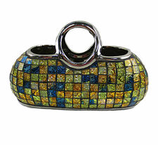 "Decorative Ceramic & Glass Purse Floral Vases, 11.5"" x 5.5"" x 7.5""(H) DMCV007"