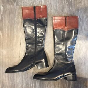 ❤️Womens 7.5 SESTO MEUCCI Black Brown Knee High Leather Riding Boots Italy