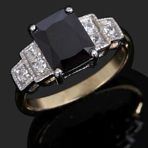 Popular Rings For Women Size 8 Fashion Black Sapphire 18K Yellow Gold Filled
