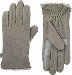 isotoner Stretch Fleece Gloves w/ Microluxe Smart Touch and Dry Technology Grey