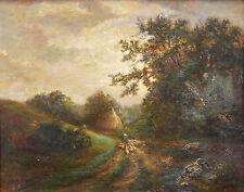 Camille FEUILLOUX (XIX-XX) huile sur toile bergère et ses moutons BARBIZON