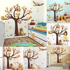 Cartoon Wall Stickers Forest Tree Animal Owl Monkey Bear Fox Baby Kid Room&Decor
