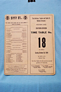 Santa Fe Employee Time Table #18 - Western Lines - Southern Div - 10/28/84