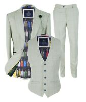 Men's Caridi Retro Slim Fit Beige Check Tweed Style Blazers Trousers Waistcoats