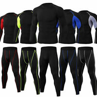 Men's Athletic Compression Set Cool Dry Shirt Long Legging Sport Gym Running