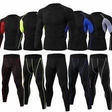 Men's Athletic Compression Set Cool Dry Shirt Long Legging Sport Gym Running