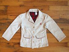 IZOD Cream Corduroy Cotton Blend Plaid Lining Blazer Jacket Coat Sz 6X EUC