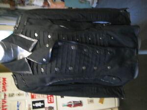 warehouse black braided front military steampunk jacket size 12 punk emo