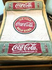 Coca Cola Coke Bottle Vtg Retro Look Quilt Twin Sz Ice Cold Sold Here 5¢ Green