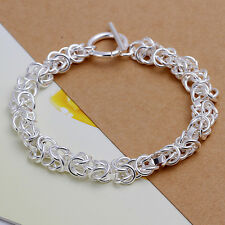 Bracciale donna Argento 925 Treccia attorcigliato collana nuova 20cm DA033