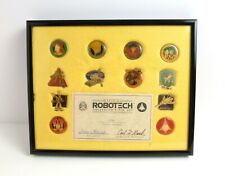 1985 ROBOTECH Collectors Pin Set(12) with Certificate of Authenticity Framed