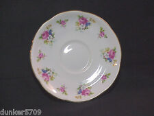 Adderly Bone China England Saucer Flower Designs With Gold Trim -5 7/8 In Across