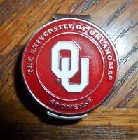"University of Oklahoma Sooners 1"" Golf Ball Marker 2 Sided & Hat clip NCAA"