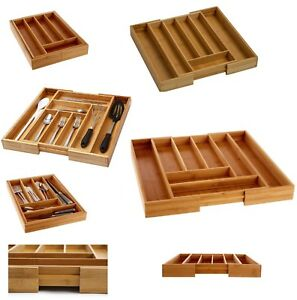 Wooden Bamboo Expandable Extending Cutlery Drawer Organiser Storage Tray 2 Sizes