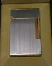 ST Dupont Line 2 Large Lighter Brushed Silver with Gold Plated Accents  - Boxed